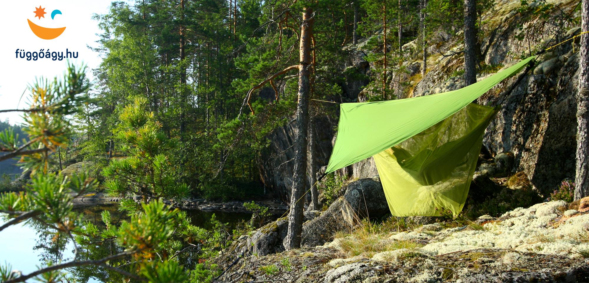 Finnország: függőágyas kemping a sziklán